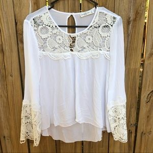 Abercrombie & Fitch White Boho Lace Top Size Small